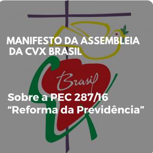 """Manifesto da Assembleia Nacional da CVX-Brasil sobre a """"Reforma da Previdência"""""""