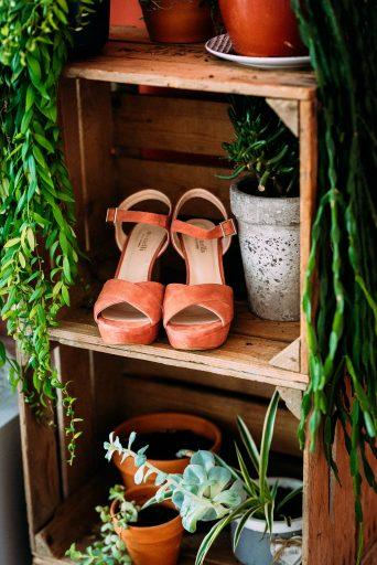 weddingshoes between plants
