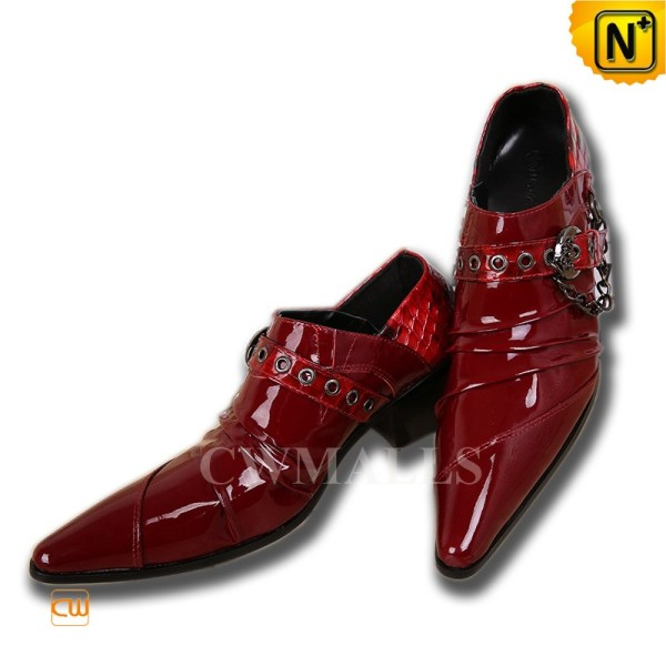 Mens Red Patent Leather Evening Shoes CW752217