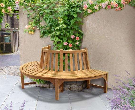 Half Tree Seat Teak Semi Circle Bench