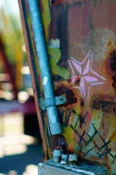 Graffiti am Kran