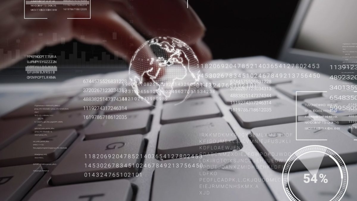 Man working on laptop computer keyboard with graphic user interface GUI hologram showing concepts of big data science technology, digital network connection and computer programming algorithm.