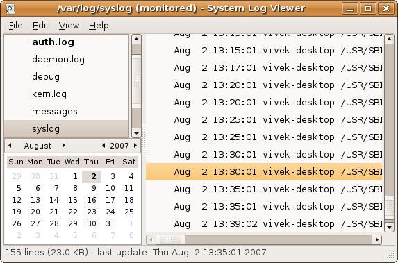 View log files in Ubuntu Linux
