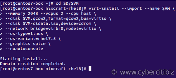 How to create VM using the qcow2 image file in KVM nixCraft