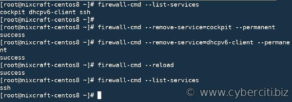 CentOS 8'de dhcpv6-client ve kokpit hizmetlerini kaldırın