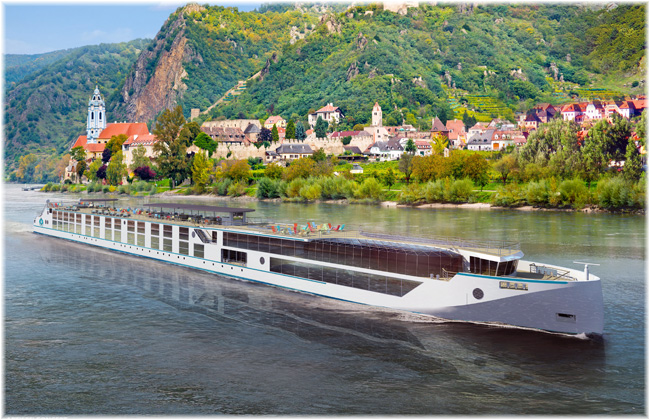 The Crystal river yacht vessels Debussy and Ravel (Artist concepts courtesy of Crystal Cruises)