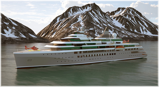 The Damen Shipyards' Expedition Cruise Vessel (Artist impression courtesy Damen Shipyards)