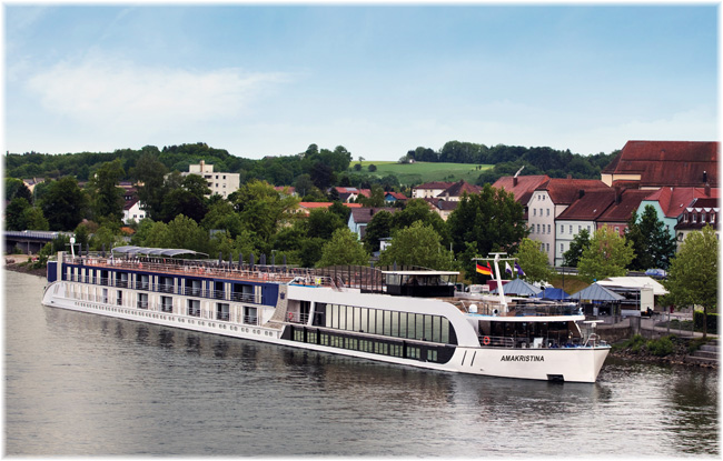 On the river side, Culture Cruises will be working with Ama Waterways, whose AmaKristina is seen here (AmaKristina at Vilshofen on Danube in Germany)