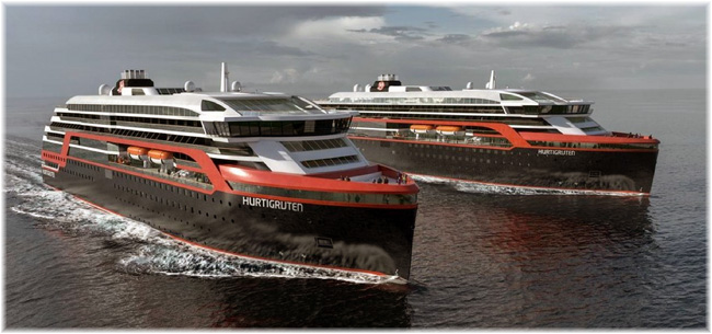 The two new ships for Hurtigruten (Artist impression courtesy Kleven)