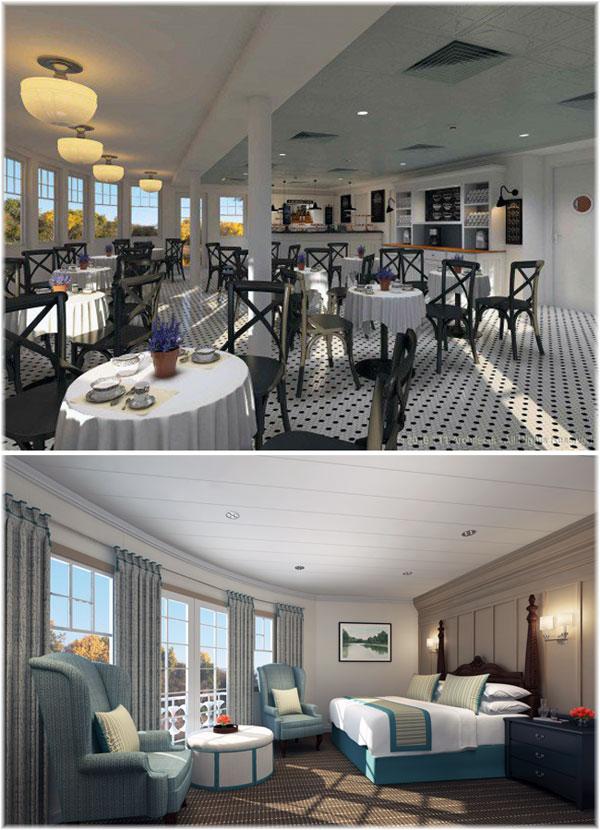 The 150-passenger Louisiane: the Veranda and the Panorama stateroom (Courtesy French America Line)