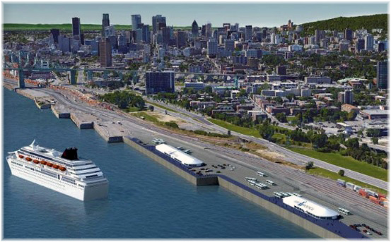 Montreal's temporary terminals at Pier 34-35 & Pier 36-37