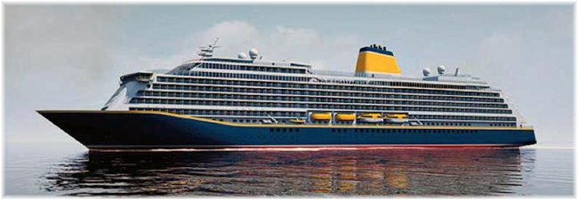 The new Saga's cruise vessel (Artist impression, courtesy Saga / Meyer Werft)