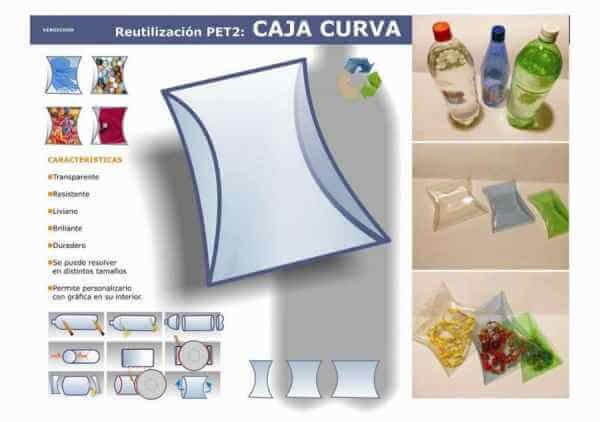 Caja curva con botellas