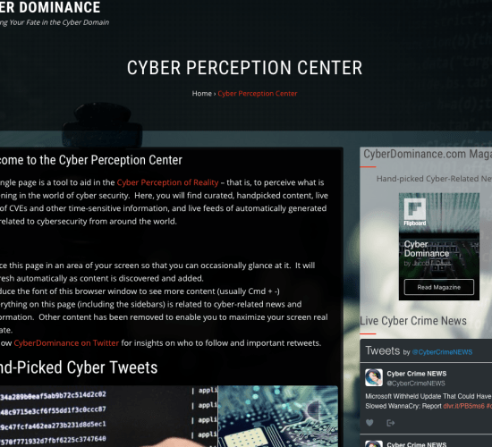 CyberDominance.com Launches Cyber Perception Center