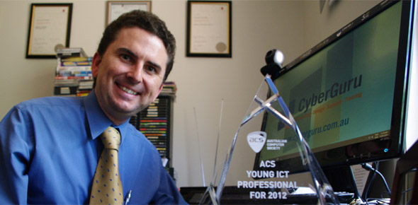 Image of Proprietor/Chief Guru, Chris Jeffery with ACS Young IT Professional of the Year for 2012 award