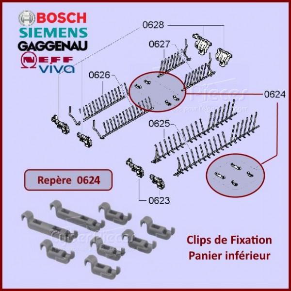 clips de fixation panier inferieur bosch 00611472 pieces lave vai