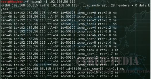 ICMP Scanning by using Hping3