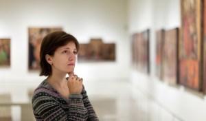 Woman appreciating art