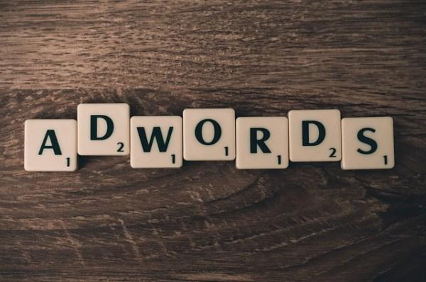 AdWords spelled using scrabble tiles