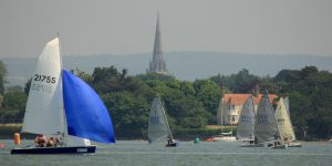 Dinghy race with Chichester Cathedral in the background (Chris Hatton)