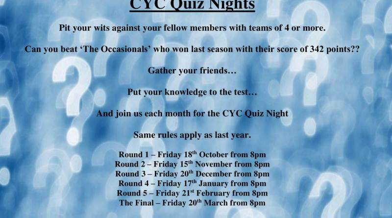 CYC Quiz Nights Return on Friday 18th October from 8pm
