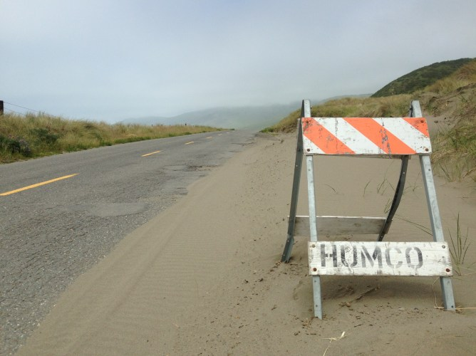 HumCo. Sand drifts into the road in places.