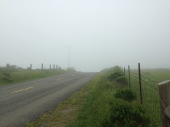 Top of the climb, thick in the fog.