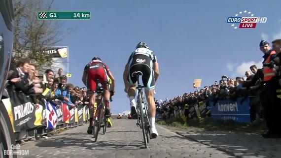 Cycleboredom | Screencap Recap: Ronde van Vlaanderen - 20% Paterberg Grind