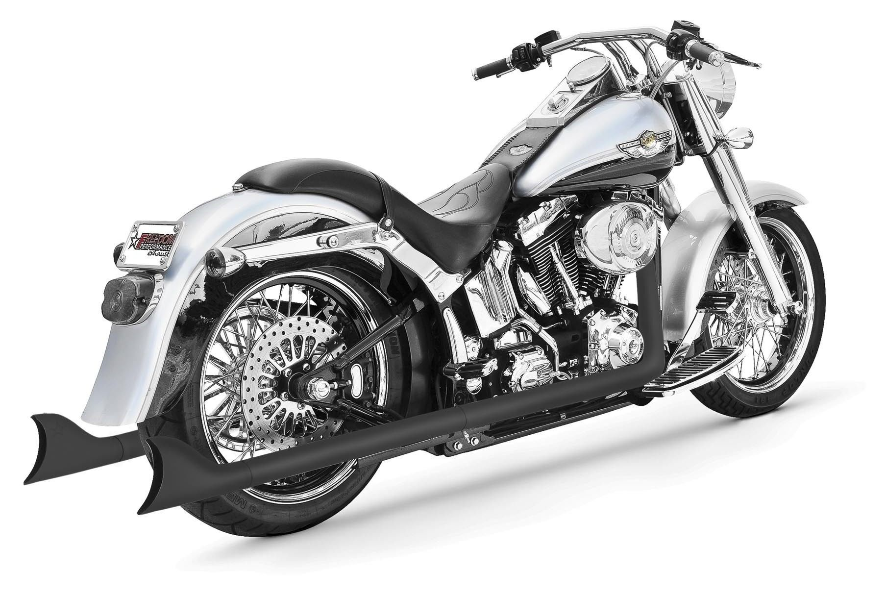freedom performance sharktail true dual exhaust for harley softail 1997 2006