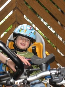 Child's rear bike seat is a great way to carry your child on your bike with you on a cycle ride