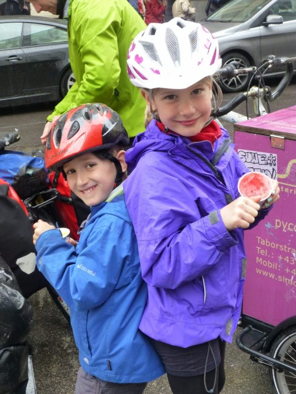 Icecreams in Vienna during a family cycling holiday