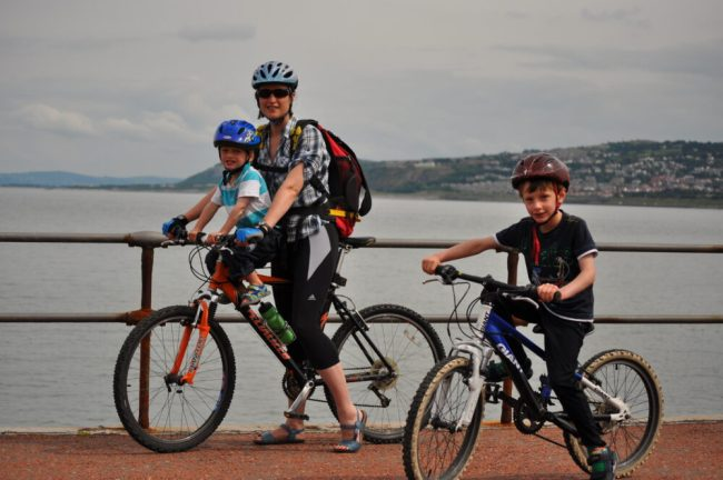 Family cycle ride North Wales coast, flat route