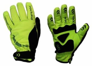 Polaris Mini Hoolie Bright Yellow Kids Winter Cycling Gloves - with the hi vis trim they are a great way to make your kids visible to drivers in the dark