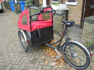Close up photo of Christiania cargo bike for carrying small baby and children