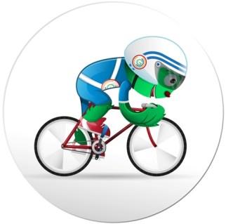 Cylde Glasgow 2014 mascot on a bike cycling fast