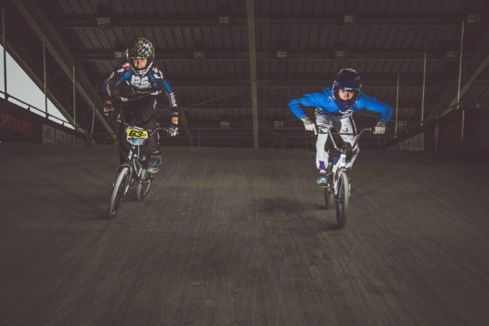 Kids racing BMX's