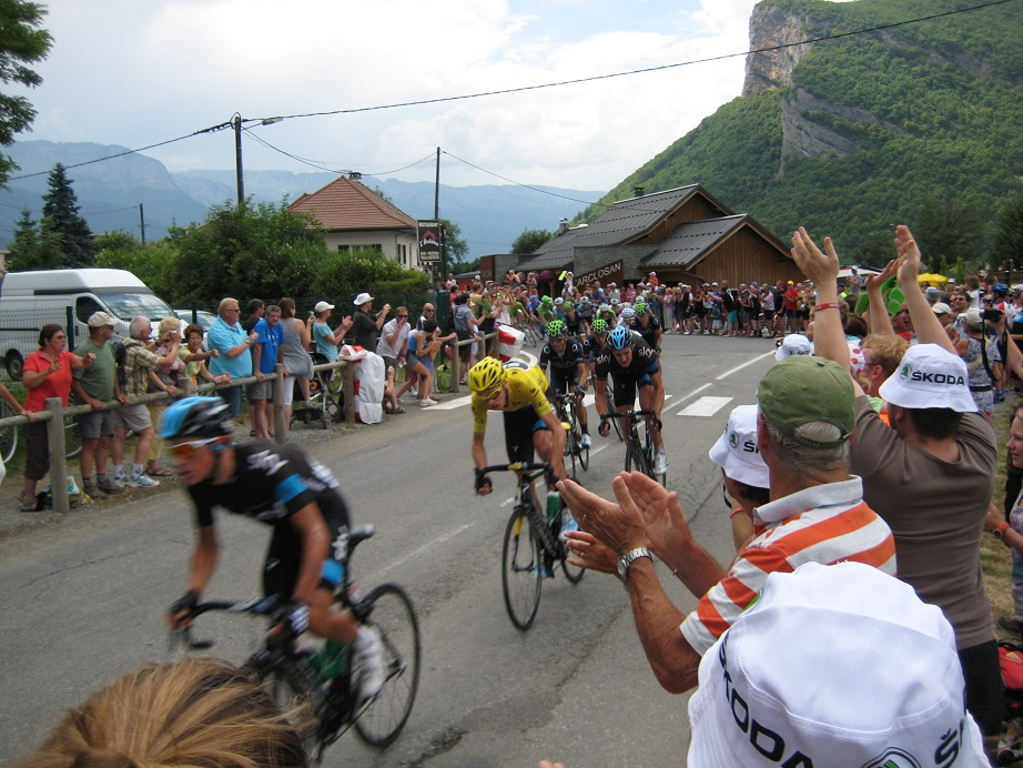 Cheering on Chris Froome at the Tour de France