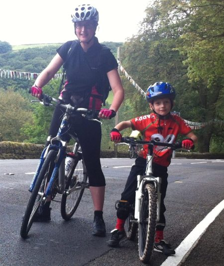 T and K half way up Cragg Vale - TdF 2014
