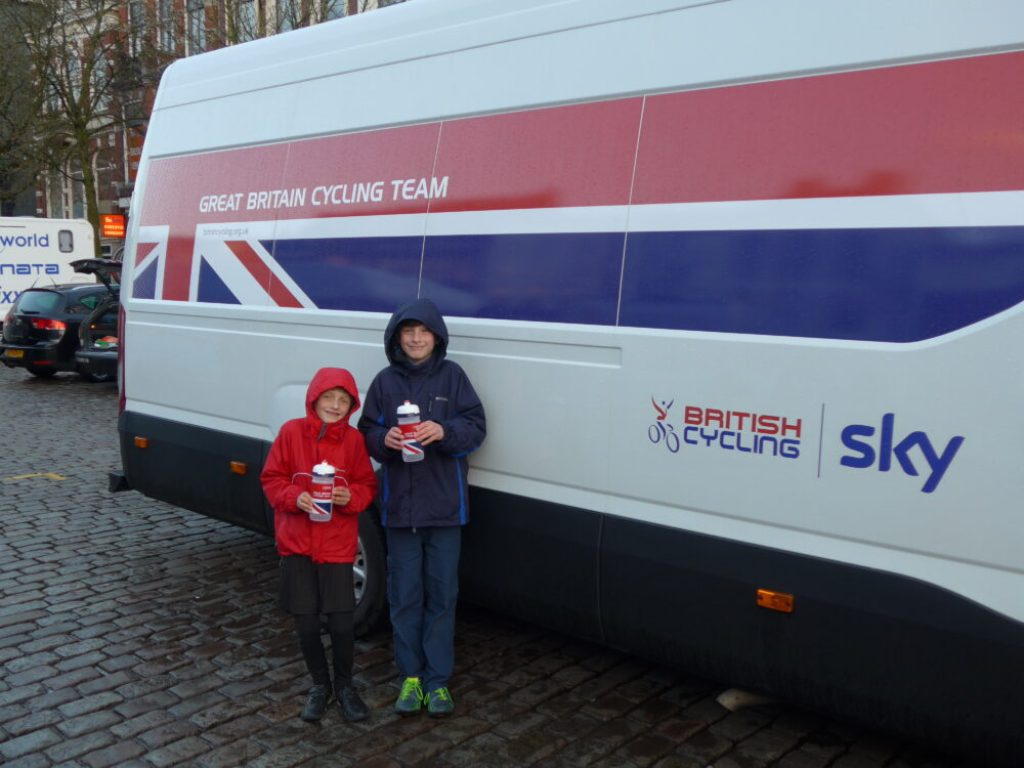 Boys with British Cycling bottle and van in Groningen