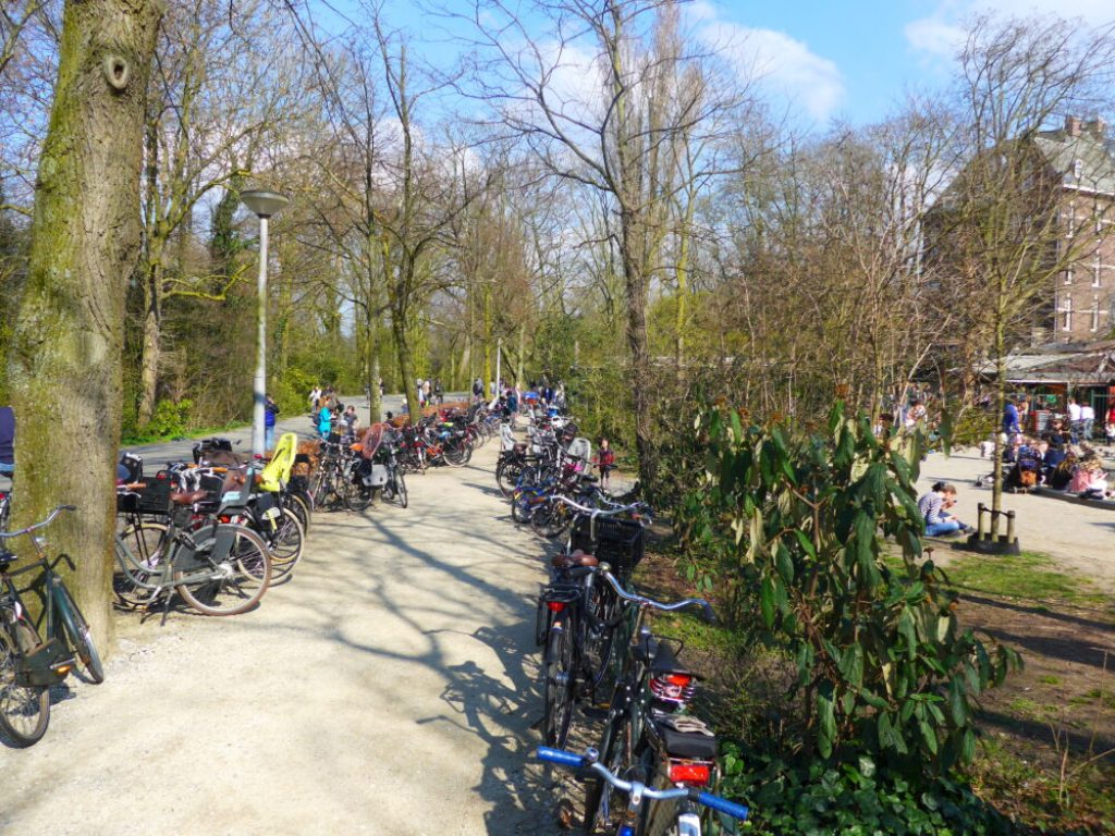 Photo of bikes outside a kids playground in Amsterdam, Holland