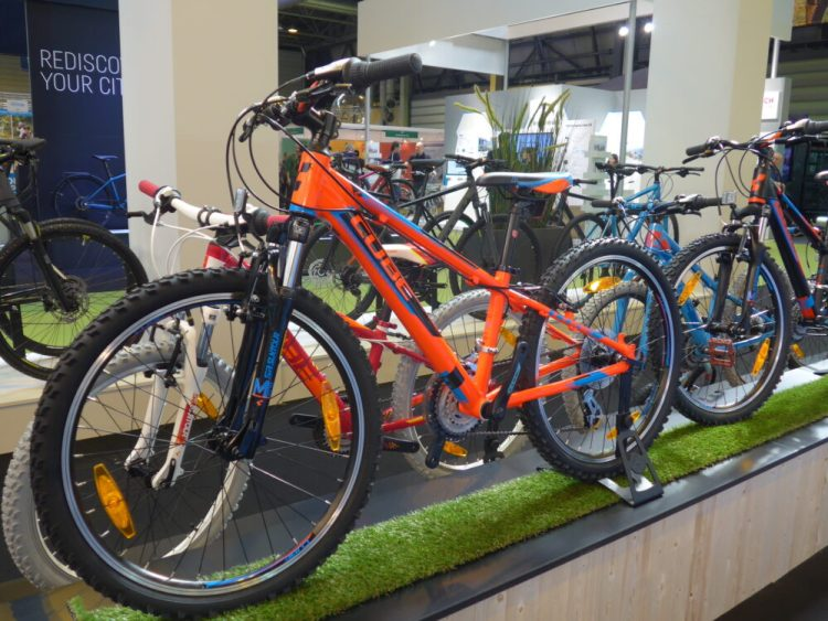 Cube 240 junior mountain bikes on display at the 2016 Cycle Show