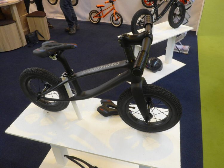 Kiddimoto Karbon Balance Bike in Matt finish on display at the Cycle Show 2016