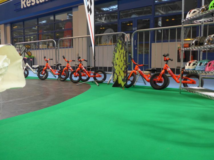 Cube balance bikes at the 2016 Cycle Show kids test track