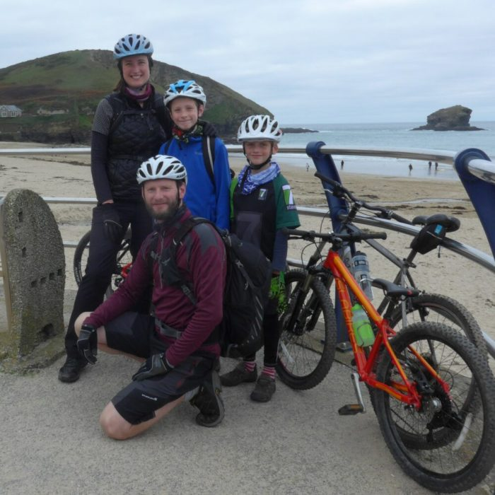 Cornwall coast to coast with kids - At the start of the Cornish Coast to Coast
