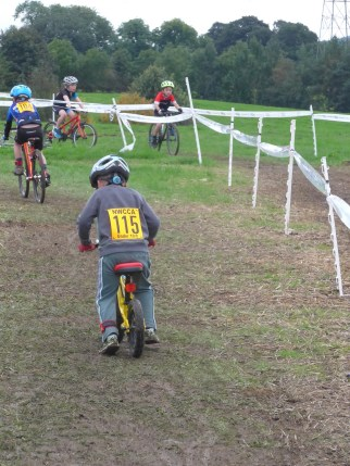 Balance Biker on the U8 cyclocross course