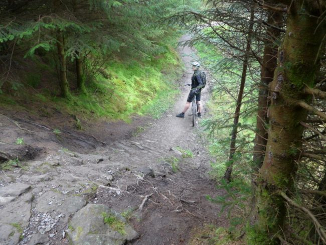 Tackling Swoopy at Gisburn Forest, Lancashire