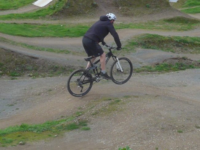 Chris practising his jumps at The Track, Redruth, Cornwall