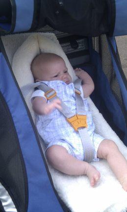 Baby in bike trailer