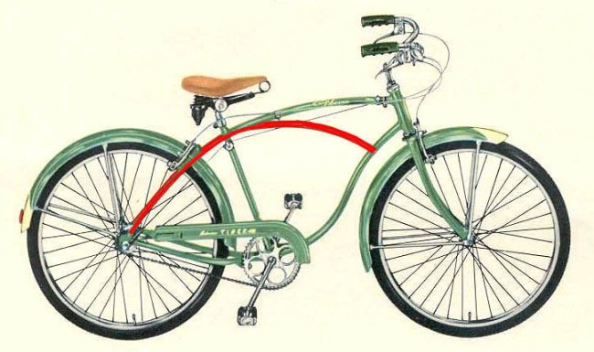Frank Schwinn designed curved bike frame - it just needs rice pedals to make it more up to date
