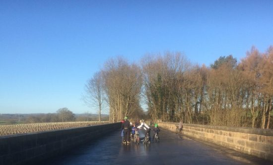 Cycling across the Nidd Gorge Viaduct